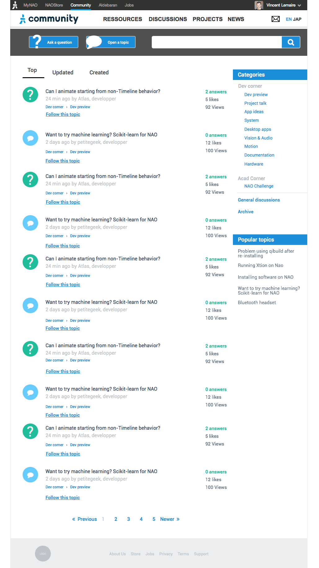Wireframe, Discussions List