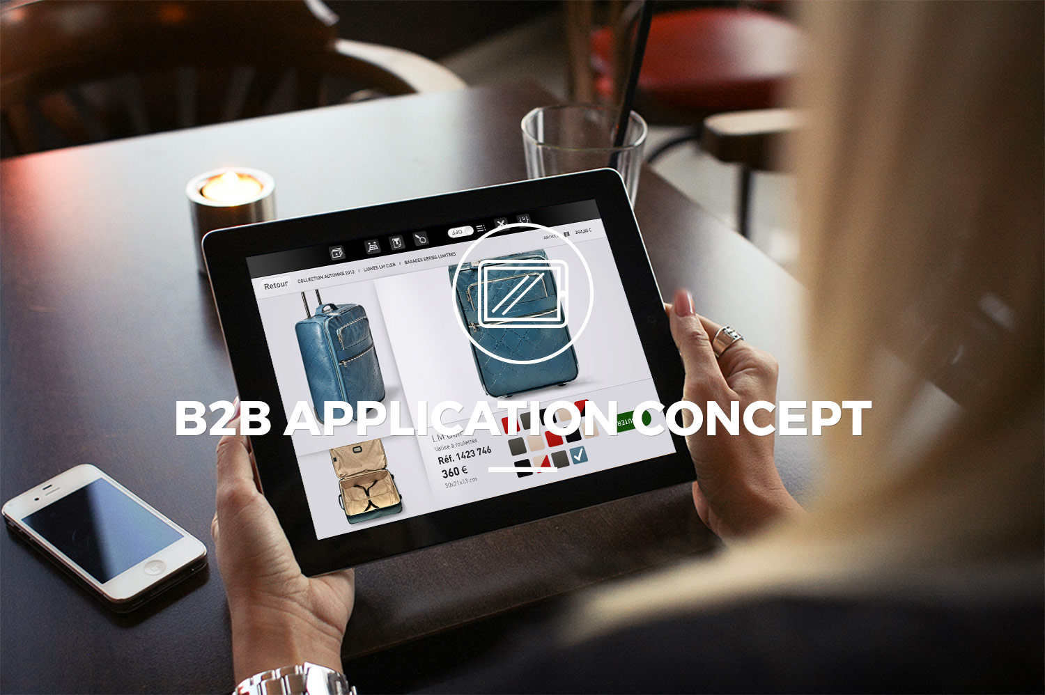 B2B tablet application concept to help seller