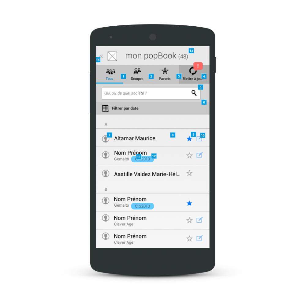 Contact list - popwing app