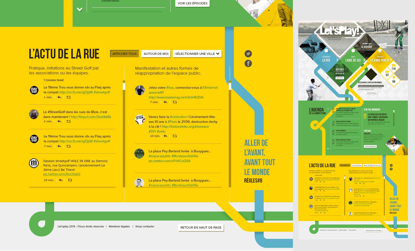 Web platform home page, social media part